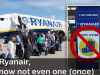 Ryanair company, little suitcase and social uprising
