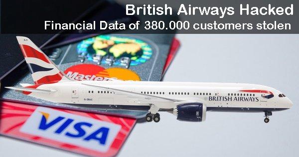 British Airways hacked, financial data of 380,000 customers stolen